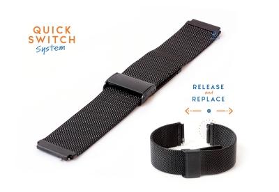 Horlogeband 18mm staal zwart milanees (fijn)