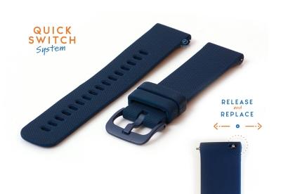 Horlogeband 20mm siliconen donkerblauw