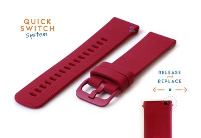 Horlogeband 20mm siliconen wijnrood
