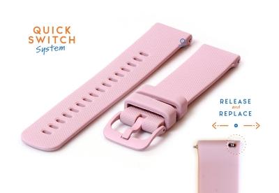 Horlogeband 20mm siliconen lichtroze