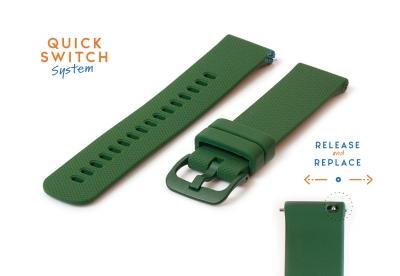 Horlogeband 22mm siliconen donkergroen