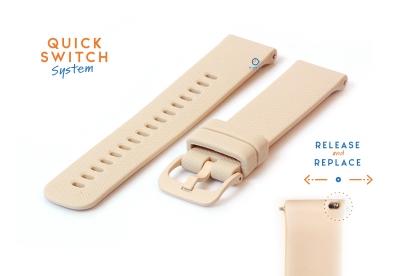 Horlogeband 22mm siliconen nude