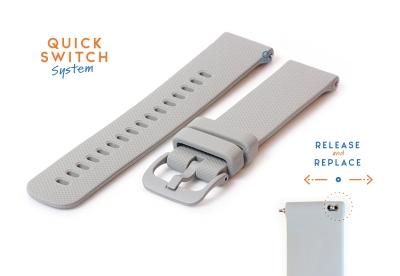Horlogeband 22mm siliconen grijs