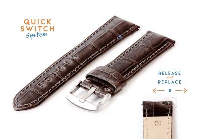 Horlogeband 20mm croco leer grijs