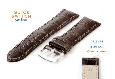 Horlogeband 22mm croco leer grijs