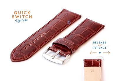 Horlogeband 24mm croco leer lichtbruin