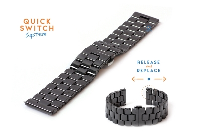Horlogeband 20mm keramiek zwart
