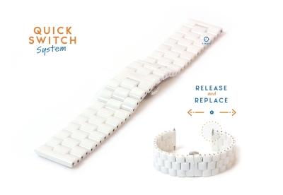 Horlogeband 20mm keramiek wit