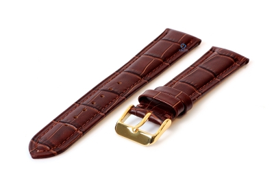 Horlogeband 16mm croco leer bruin