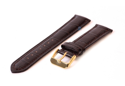 Horlogeband 16mm croco leer donkerbruin