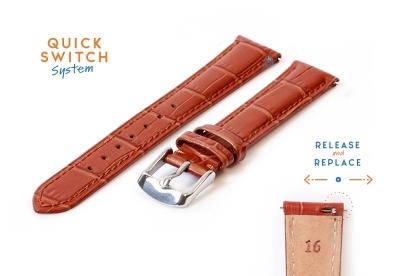 Horlogeband 16mm croco leer lichtbruin