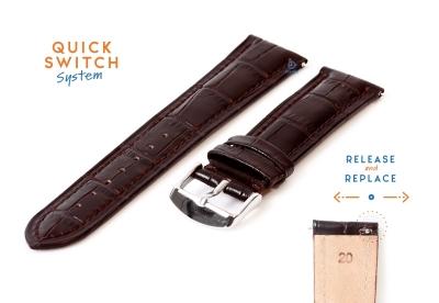Horlogeband 20mm croco leer donkerbruin