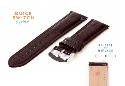 Horlogeband 22mm croco leer donkerbruin