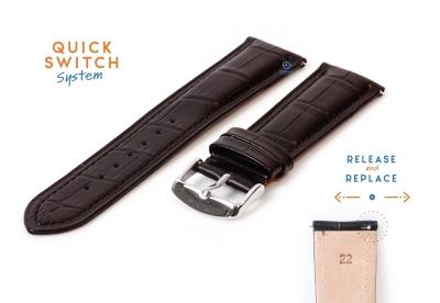 Horlogeband 22mm croco leer zwart