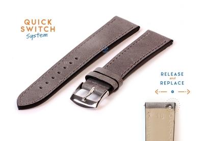 Horlogeband 18mm kalfsleer matgrijs