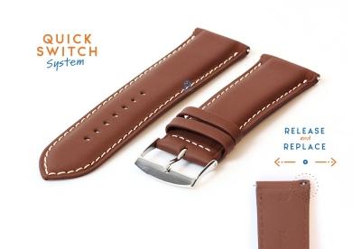 Horlogeband 26mm bruin ecovriendelijk rundleder