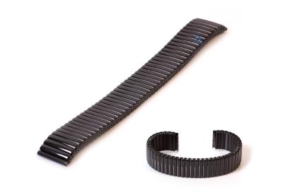 Horlogeband 18mm stalen rekband zwart