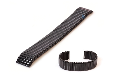 Horlogeband 20mm stalen rekband zwart