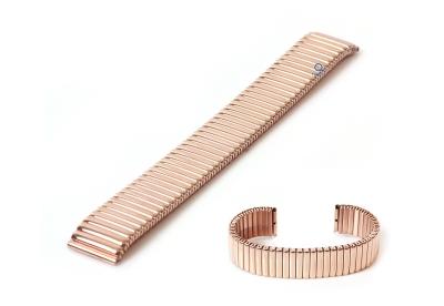 Horlogeband 18mm stalen rekband Rosegoud