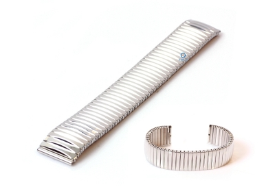 Horlogeband 20mm stalen rekband zilver