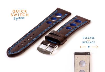 Horlogeband 20mm racing zwart met blauw stiksel