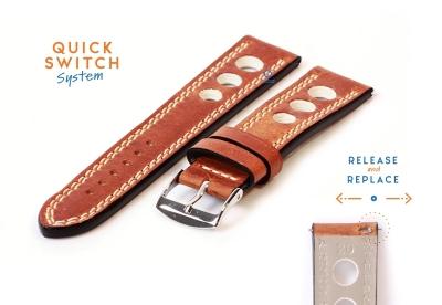 Horlogeband 20mm racing bruin met beige stiksel