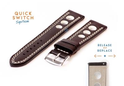 Horlogeband 20mm racing zwart met wit stiksel