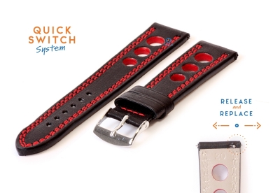 Horlogeband 20mm racing zwart met rood stiksel