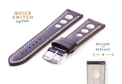 Horlogeband 20mm racing blauw met wit stiksel