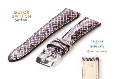 Horlogeband 18mm slangenleer grijs