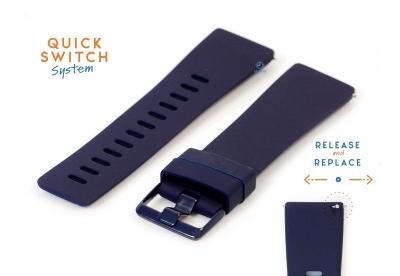 Horlogeband 23mm siliconen donkerblauw