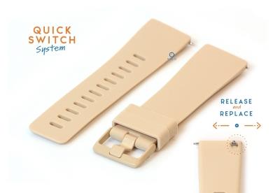 Horlogeband 23mm siliconen nude