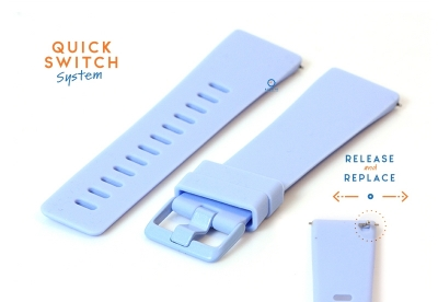 Horlogeband 23mm siliconen pastel blauw