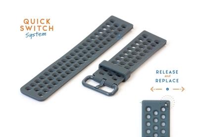 Horlogeband 23mm perforated siliconen donkergrijs