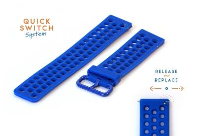 Horlogeband 23mm perforated siliconen royalblauw