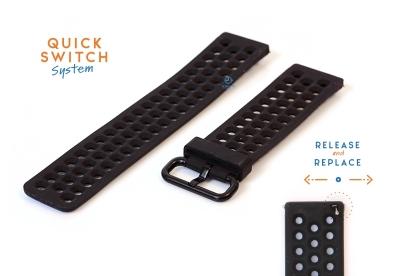 Horlogeband 23mm perforated siliconen zwart