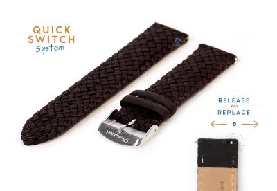 Fromanteel horlogeband gevlochten leer zwart