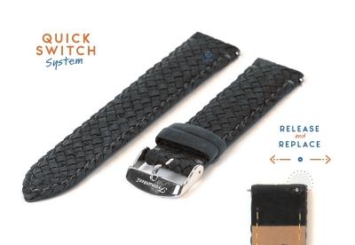 Fromanteel horlogeband gevlochten leer grijs
