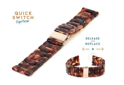Horlogeband 22mm resin turtle bruin