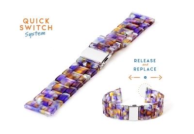 Horlogeband 22mm resin turtle paars/geel
