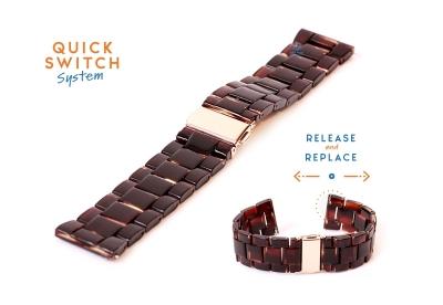 Horlogeband 22mm resin turtle donkerbruin