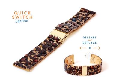 Horlogeband 22mm resin luipaard