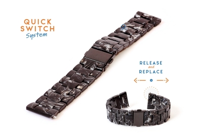Horlogeband 22mm resin marmer zwart/grijs