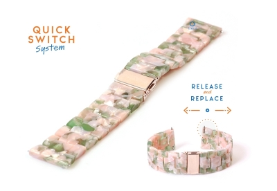 Horlogeband 22mm resin turtle roze/groen