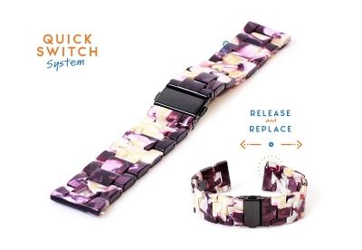 Horlogeband 22mm resin turtle paars/wit