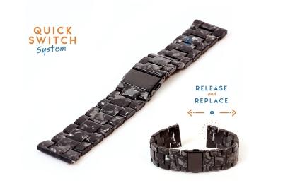 Horlogeband 22mm resin graniet zwart/grijs
