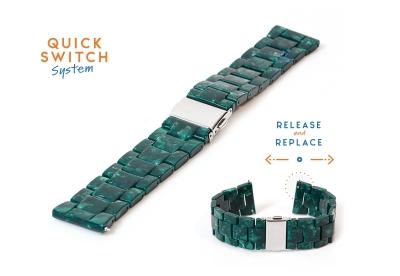 Horlogeband 22mm resin graniet groen