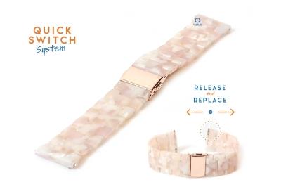 Horlogeband 22mm resin turtle zalmroze/wit