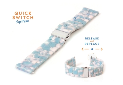 Horlogeband 22mm resin turtle blauw/wit