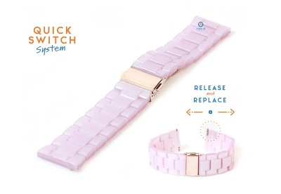 Horlogeband 22mm resin roze
